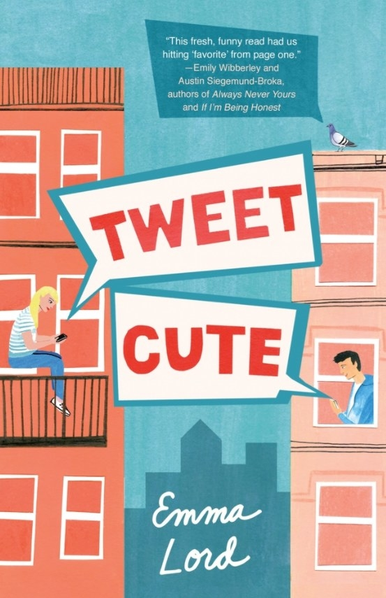 Cover of Tweet Cute by Emma Lord featuring an illustration of a girl and a boy in separate buildings looking at their phones