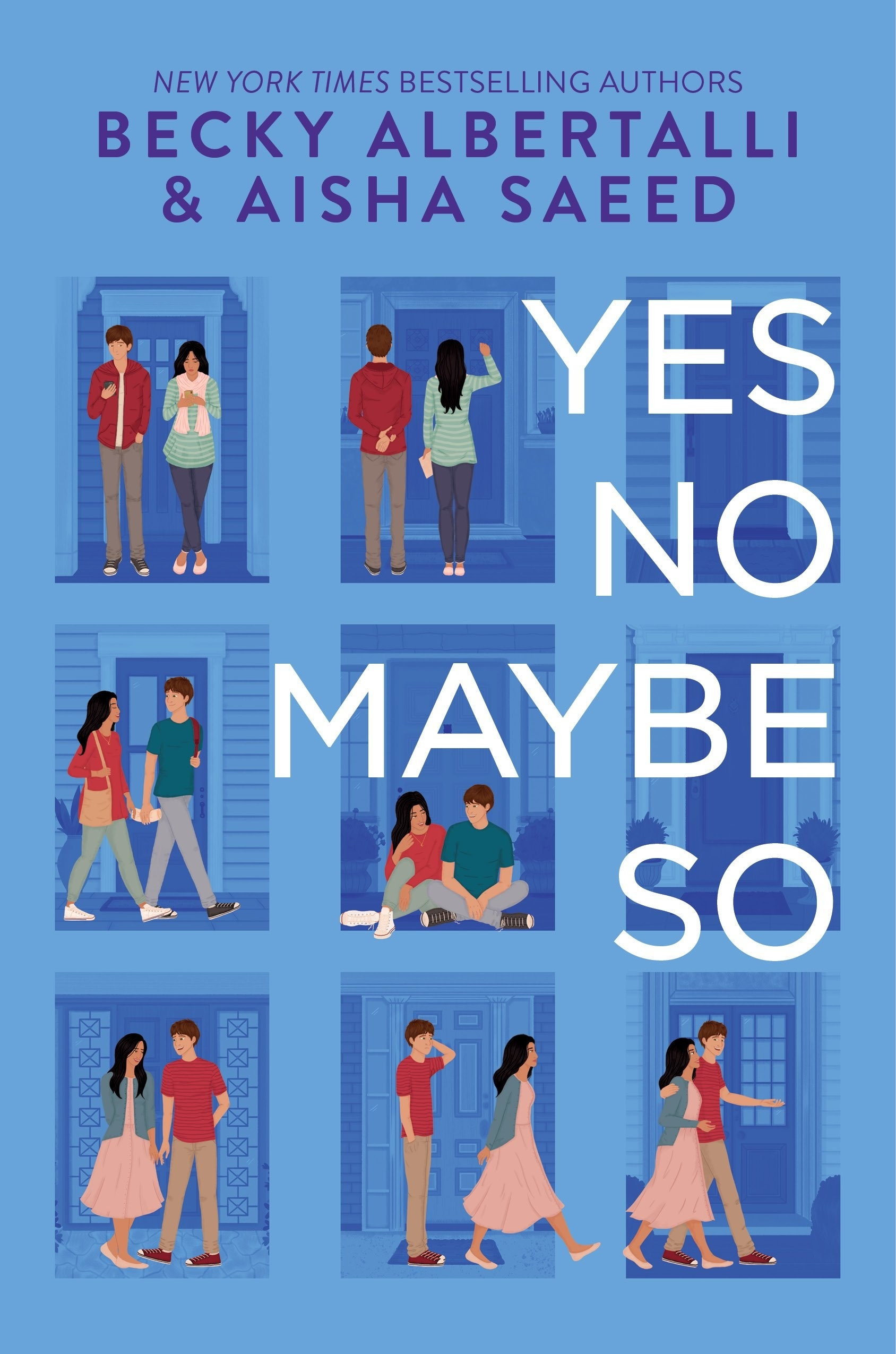 "Cover of ""Yes No Maybe So"" by Becky Albertalli & Aisha Saeed featuring an illustration series of a girl and a boy"