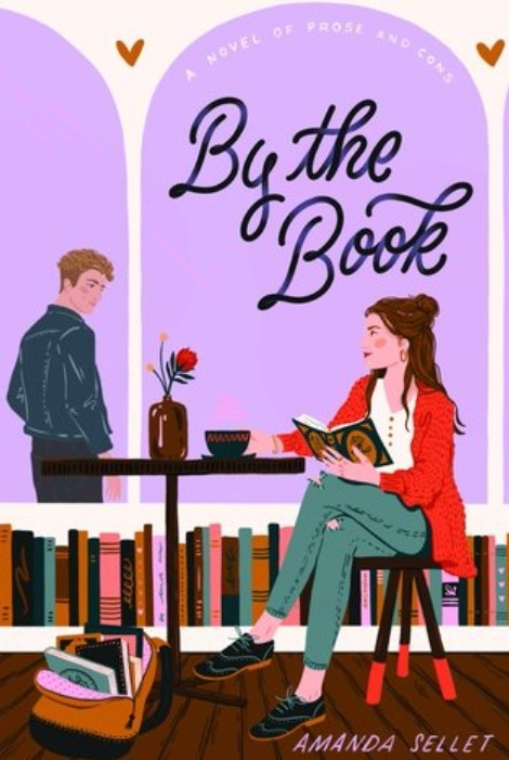 Cover of By the Book by Amanda Sellet feautring an illustration of a girl and a boy in a bookstore