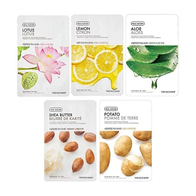The Face Shop lemon, lotus, aloe, Shea butter and potato sheet masks.