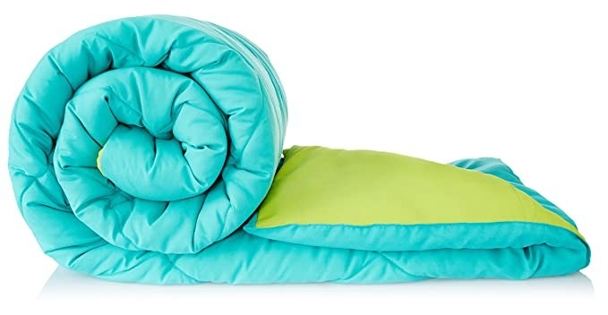 Blue and lime green reversible comforter.