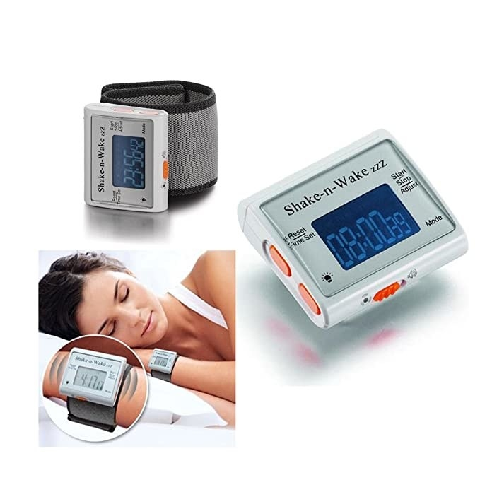 Vibrating alarm with a wrist strap.