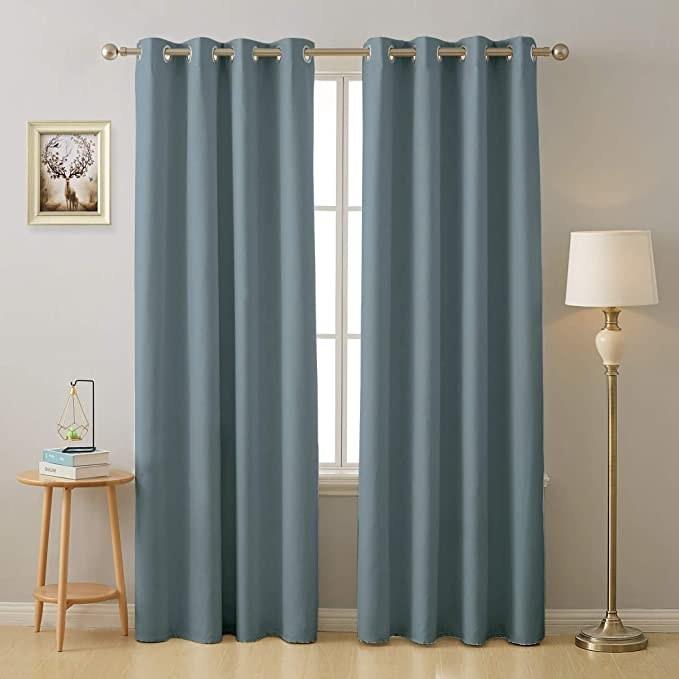 Blue curtains.