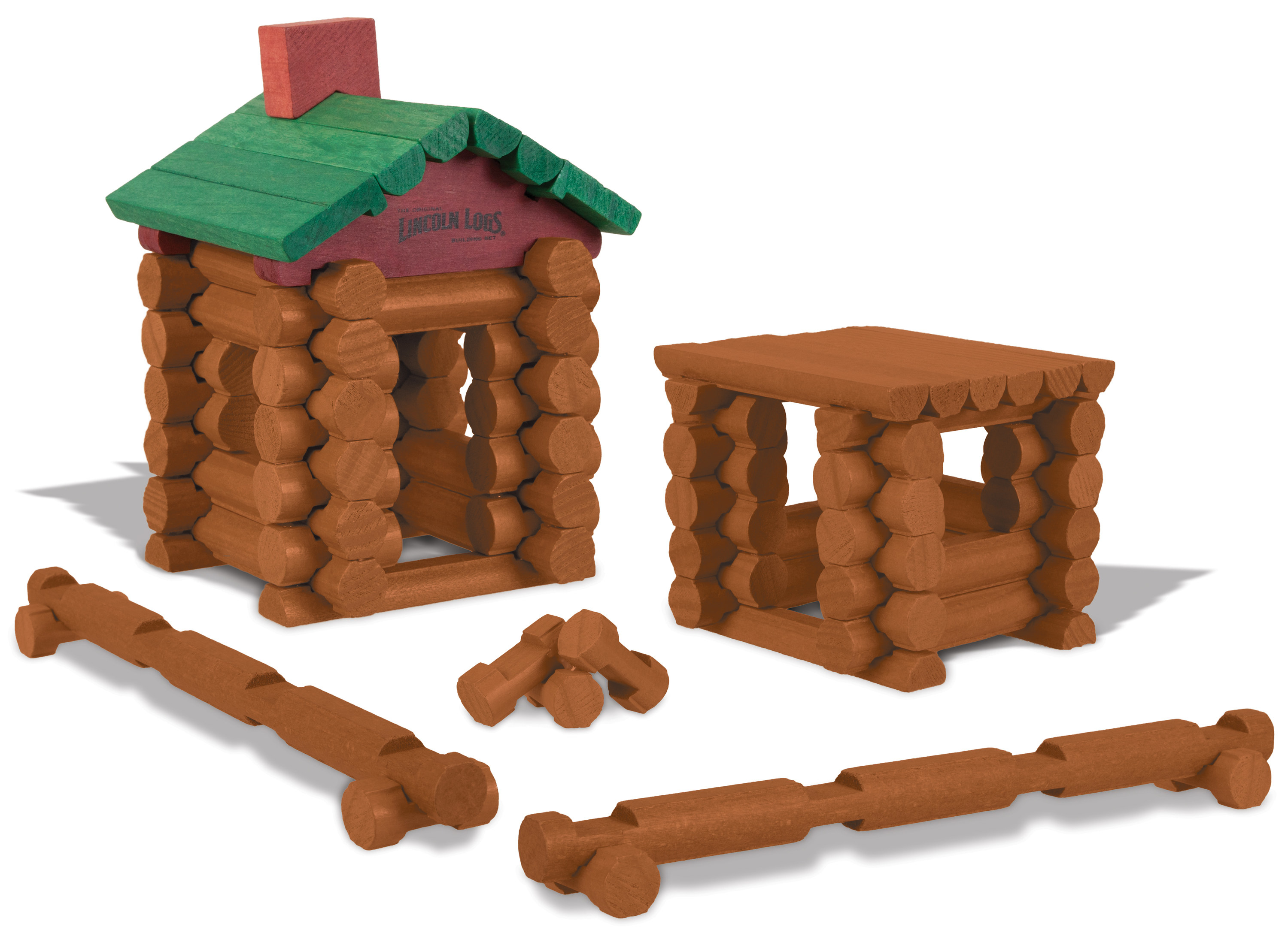 Lincoln Logs in the formation of a fence, home and fire pit