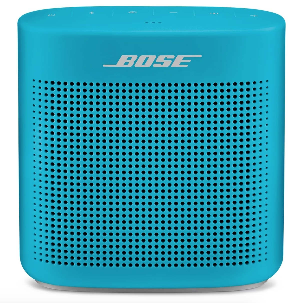 A light blue Bose Bluetooth speaker