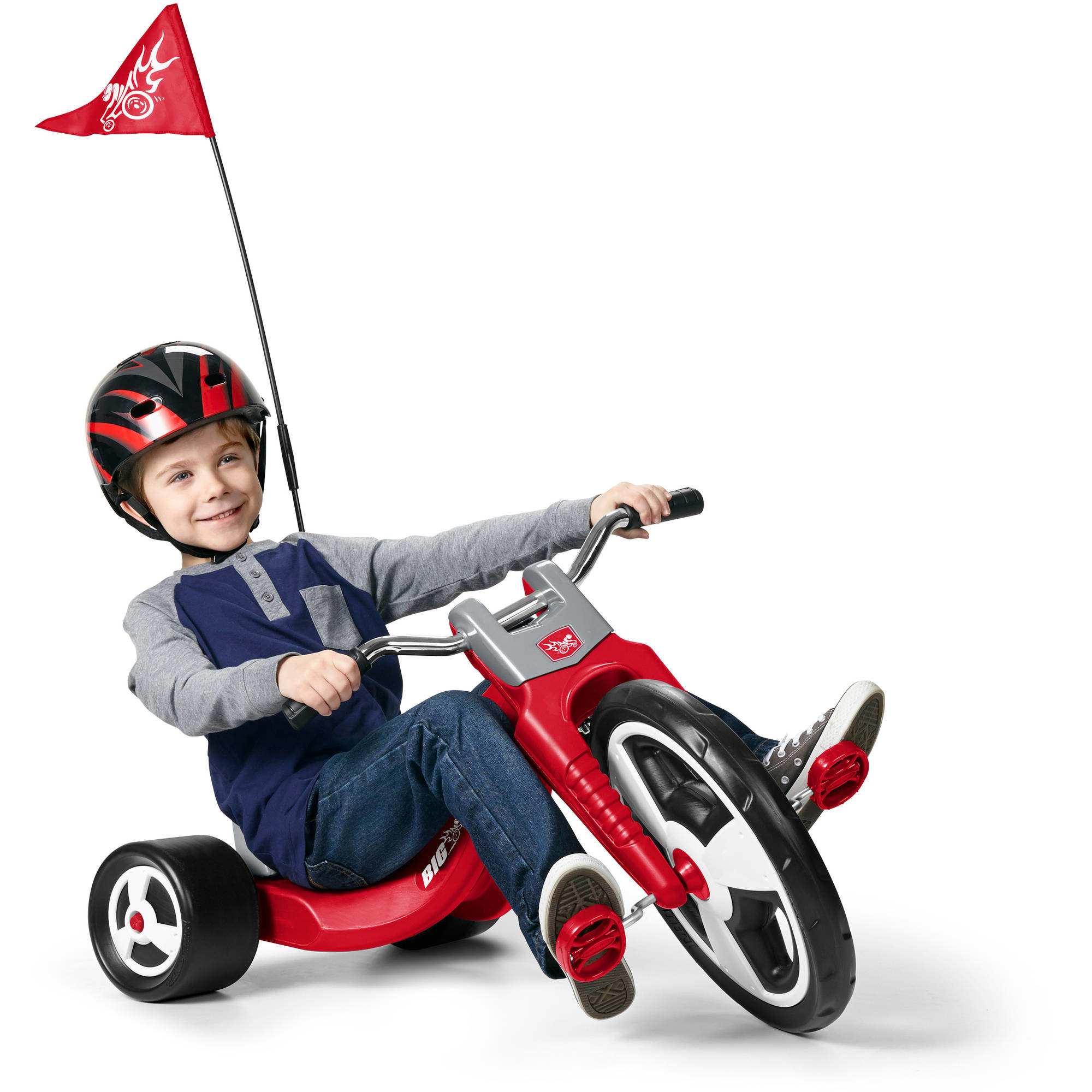 Red low-riding tricycle with racing pennant flag attached
