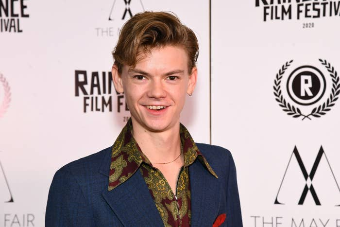 """Thomas Brodie Sangster attends the """"Stardust"""" Opening Film & UK Premiere during the 28th Raindance Film Festival at The May Fair Hotel on October 28, 2020 in London, England."""