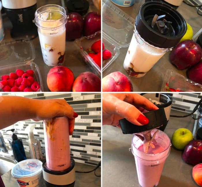 Step-by-step photos showing how to make a smoothie using the Ninja