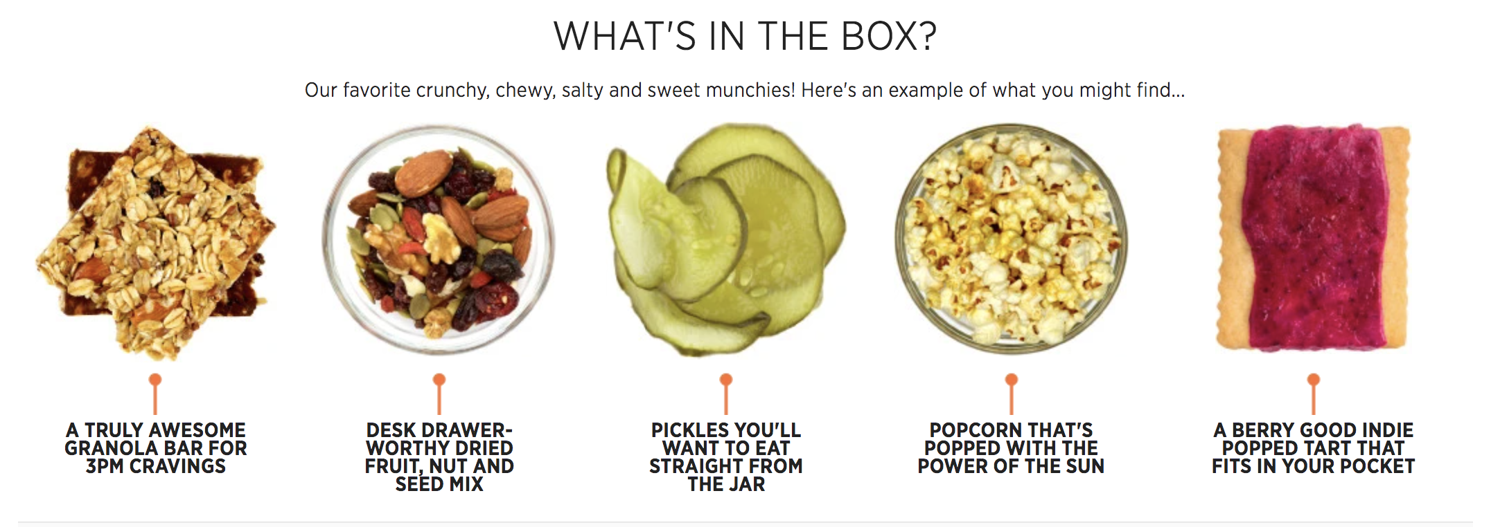 Examples of what can come in the box, like a nut and fruit mix, granola bars, pickles, popcorn, and fancy Poptarts