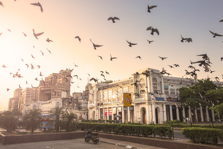 An early morning in delhi's connaught place