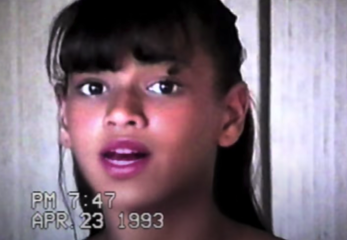"A video of Beyoncé singing as a teen in the ""Grown Woman"" music video"