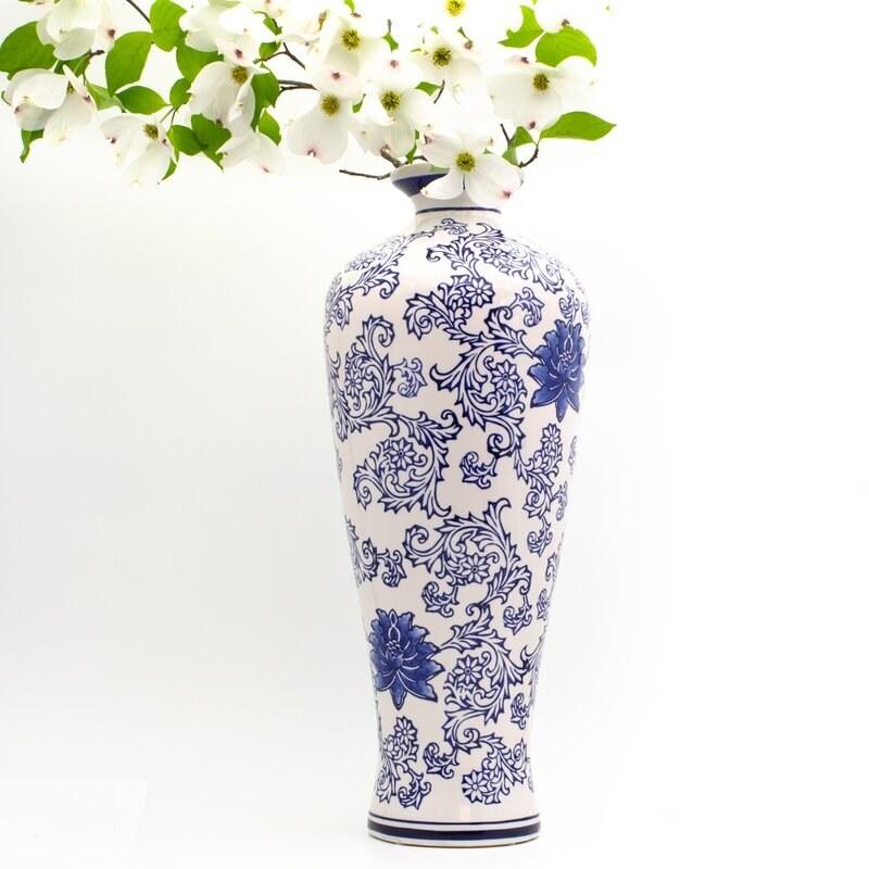 Blue and white ceramic table vase