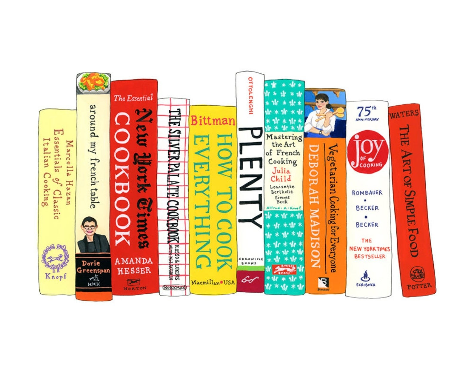 illustrated book spines including the art of simple food, how to cook everything, and mastering the art of french cooking