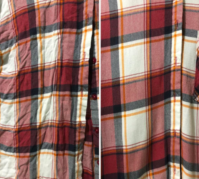 Plaid flannel before and after being steamed