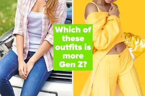 下面的图片是一个女孩穿着低腰牛仔裤和格子衬衫,还有一个亚博体育官网无法取款女孩穿着一件格子衬衫。单色套装搭配露脐背心、宽松的夹克和打褶的裤子