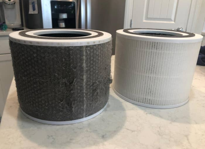 A clean filter and dirty filter side by side showing the air purifier's cleaning power