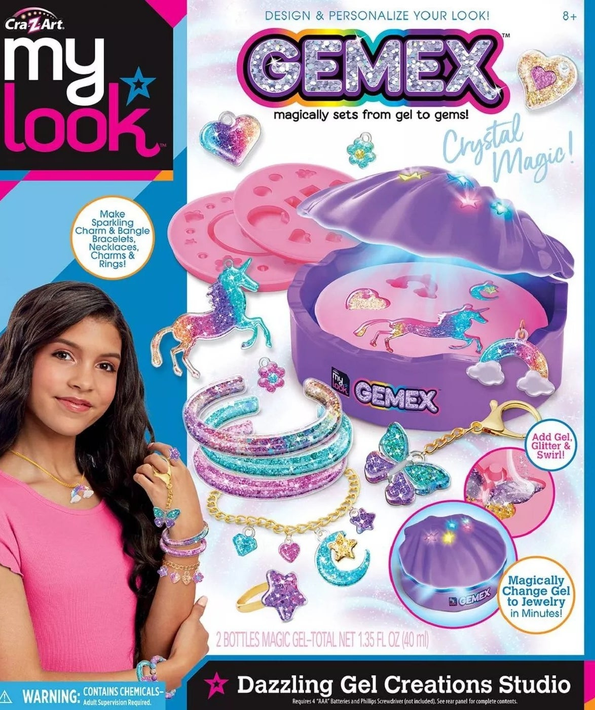 CraZ Art my look GEMEX dazzling gel creations studio that magically sets from gel to gems and includes two bottles of magic gel