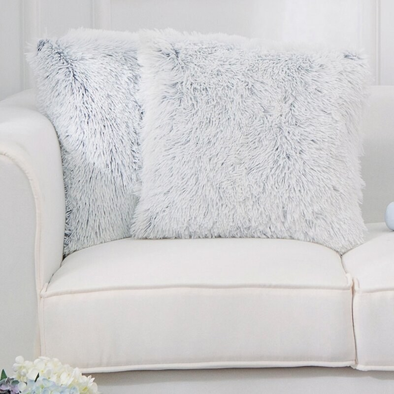 Set of two mashpee square fuzzy pillow covers and inserts