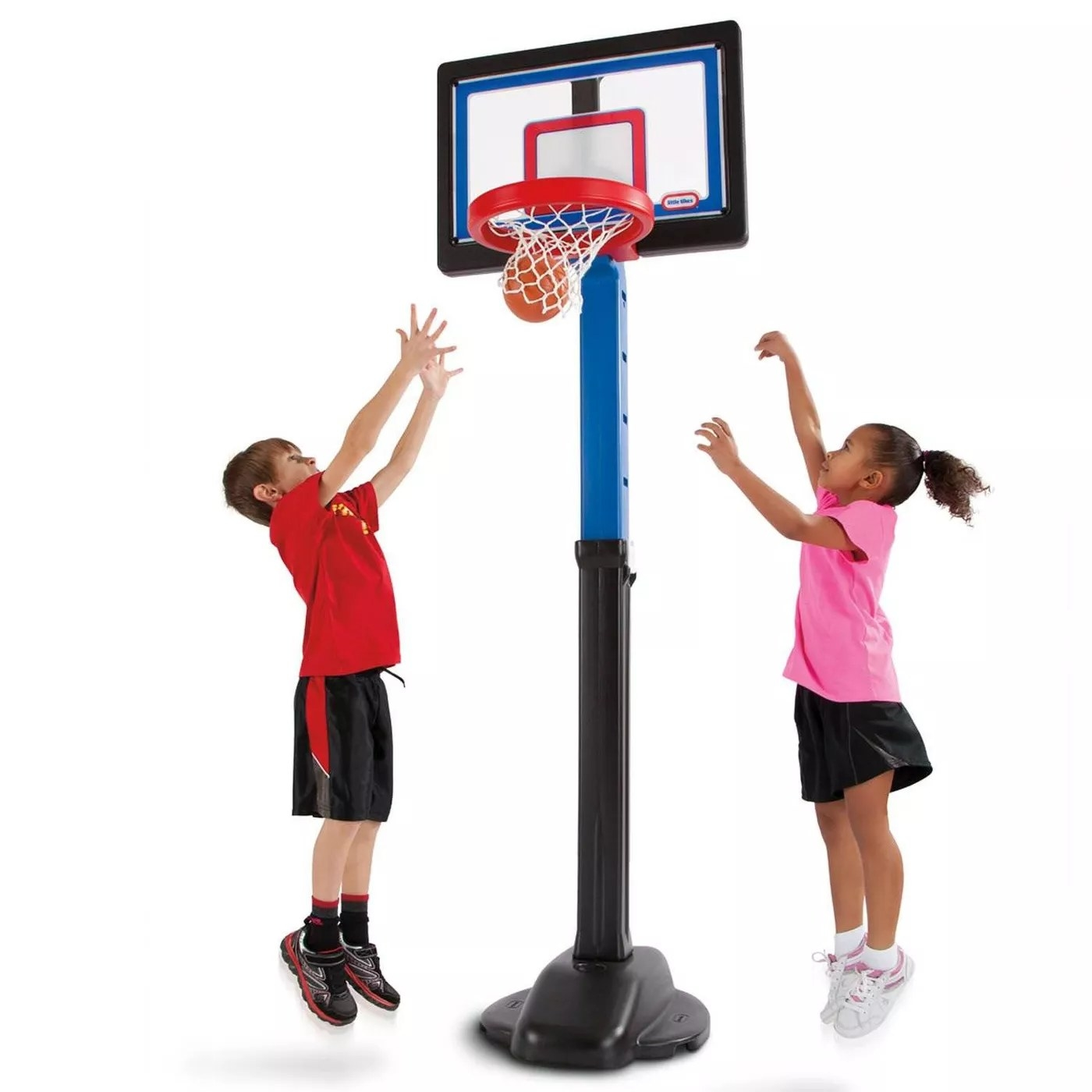 Two kids playing with the adjustable hoop and the included basketball
