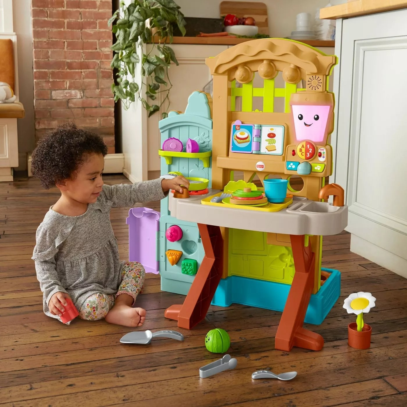 The kitchen side of the garden-to-kitchen playset