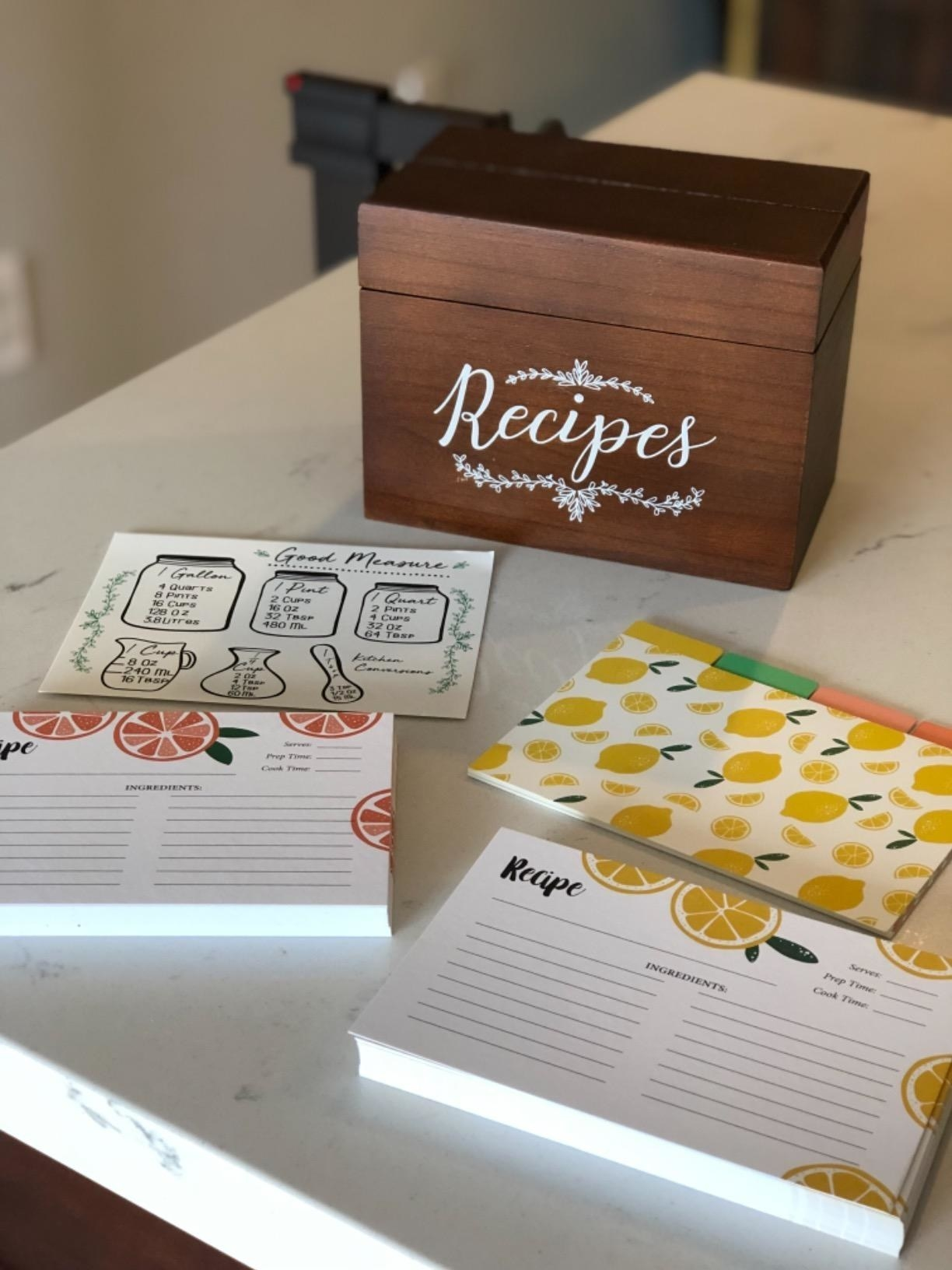 reviewer image of vintage recipe box and index cards