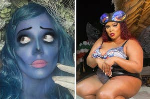 Halsey dressed as corpse bride next to Lizzo dressed as a fly