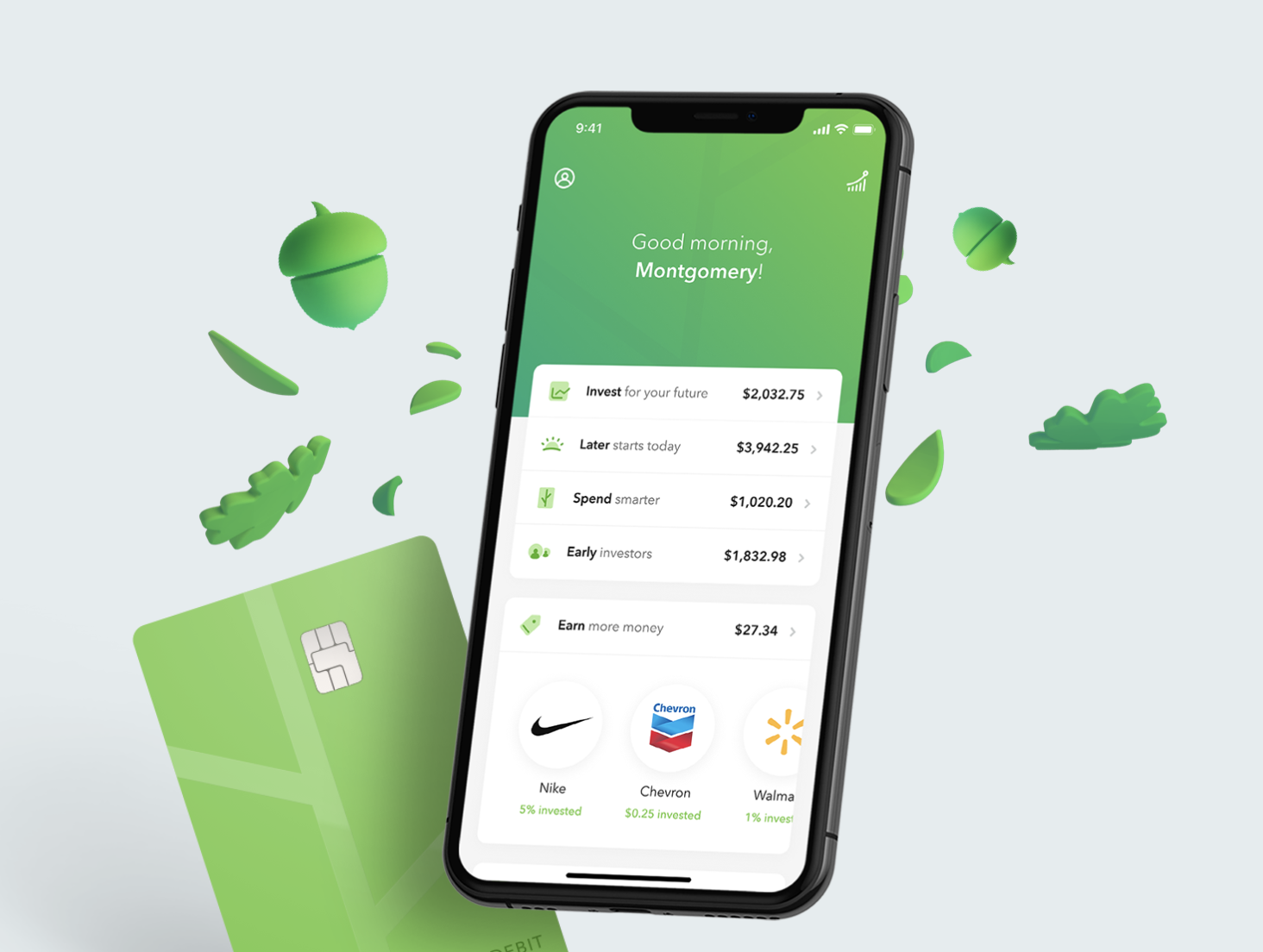 A phone screen showing the Acorns app, which specifies money for investing, spending, and earnings offers