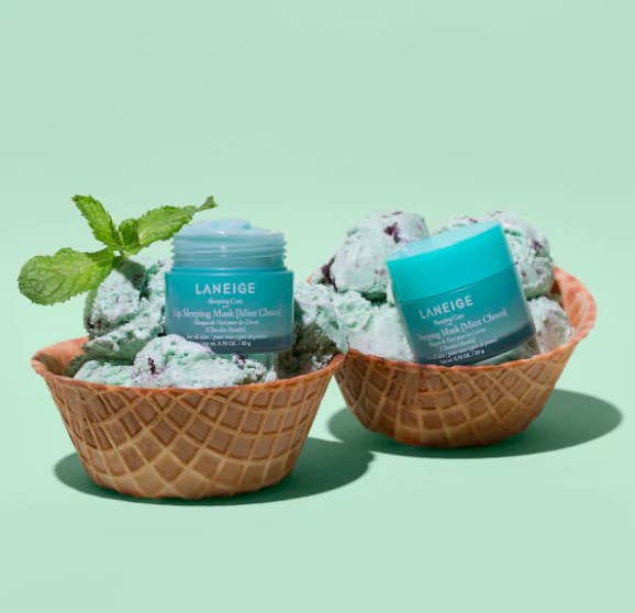 A pair of lip masks perched on top of mint chocolate chip ice cream inside waffle bowls