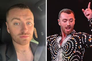 Sam Smith posing for a selfie next to a picture of them on stage