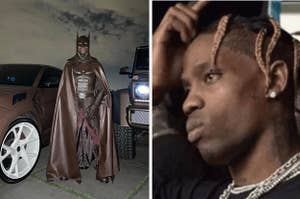 Side by side photo of Travis Scott in Batman costume and Travis scratching his head
