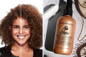 A person with a before and after of their curls looking frizzy and then looking hydrated and a glow mist