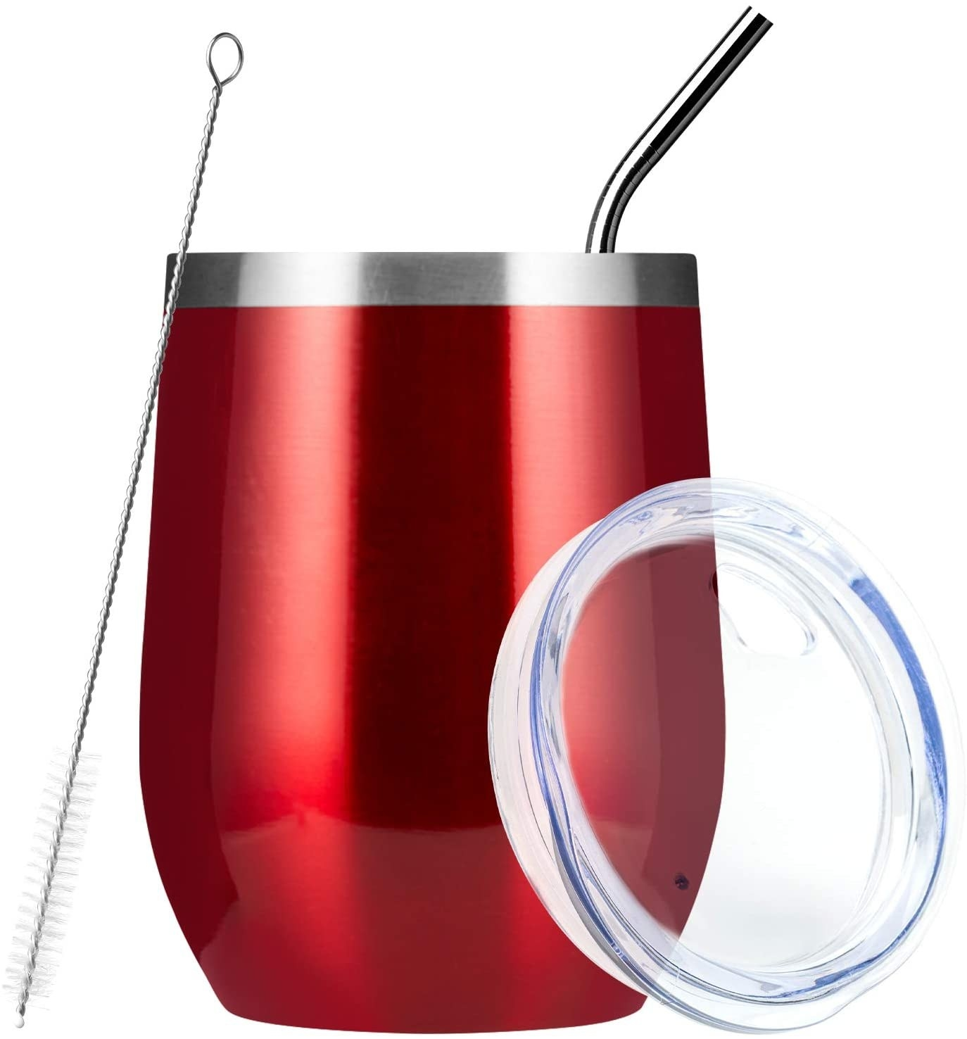 Red wine tumbler with included straw and cleaning brush