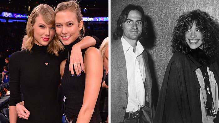 Taylor Swift and Karlie Kloss at a basketball game; James Taylor and Carly Simon posing together at an entertainment event in the '70s
