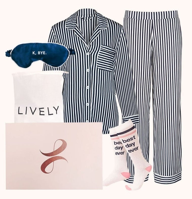 The Loungewear set with matching pajamas, socks, and an eye mask