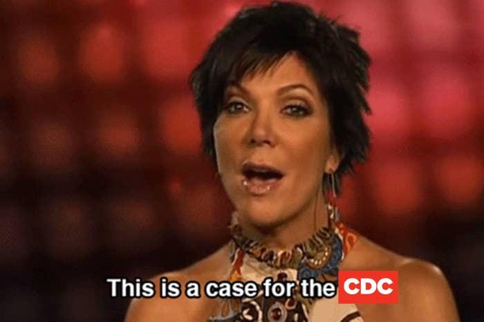 """""""A case for the FBI"""" meme of Kris Jenner."""