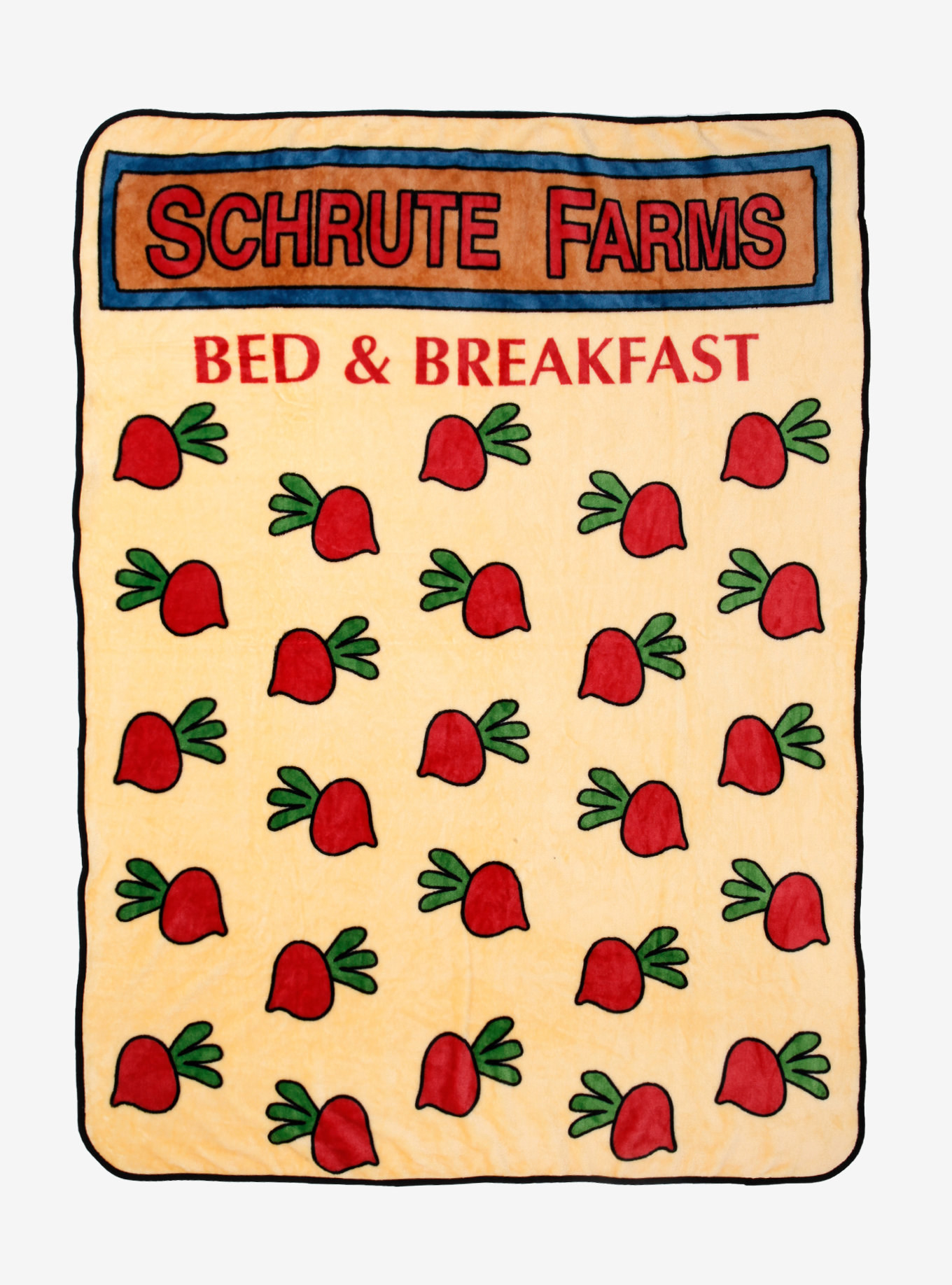 """the blanket with radish illustrations and text saying """"Schrute Farms Bed and Breakfast"""""""
