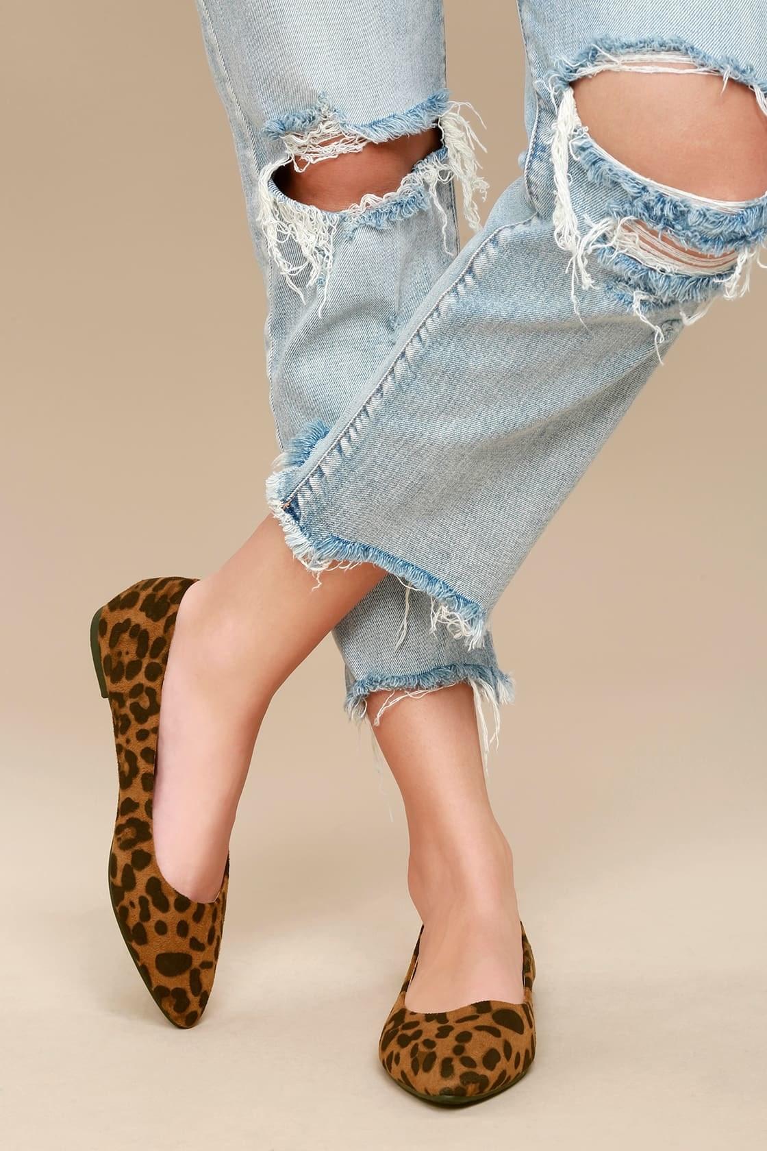 model wearing the leopard print flats