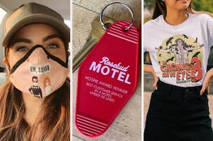 A person wearing a protective mask, a rosebud motel keychain, and a t-shirt with the logo for the crows have eyes 3