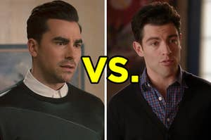 """On the left, David from """"Schitt's Creek,"""" and on the right, Schmidt from """"New Girl"""" with """"vs."""" typed in between the two images"""