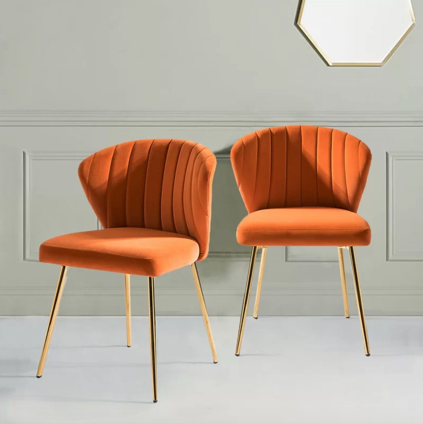 The set of side chairs in orange