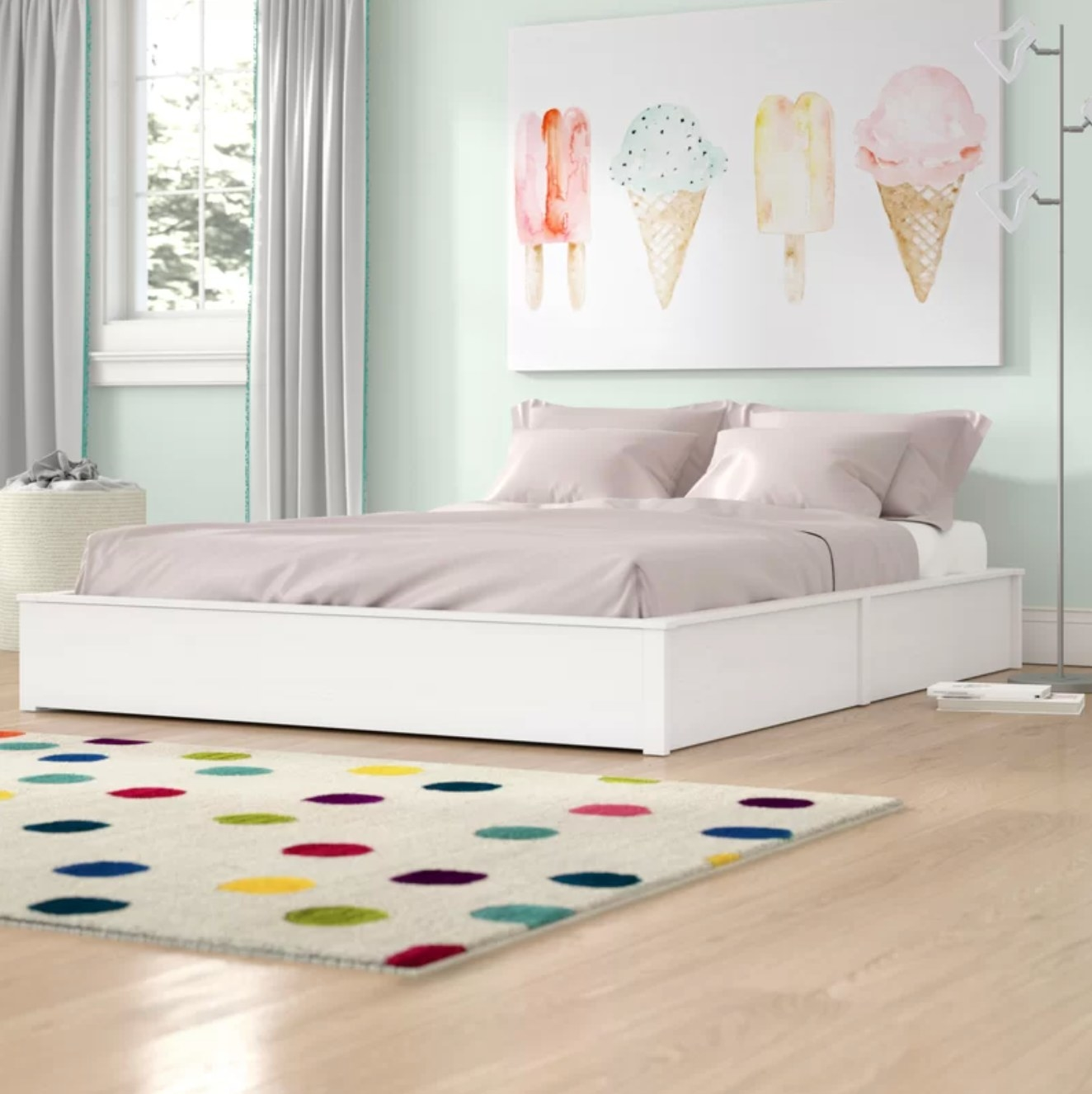 The platform bed in white