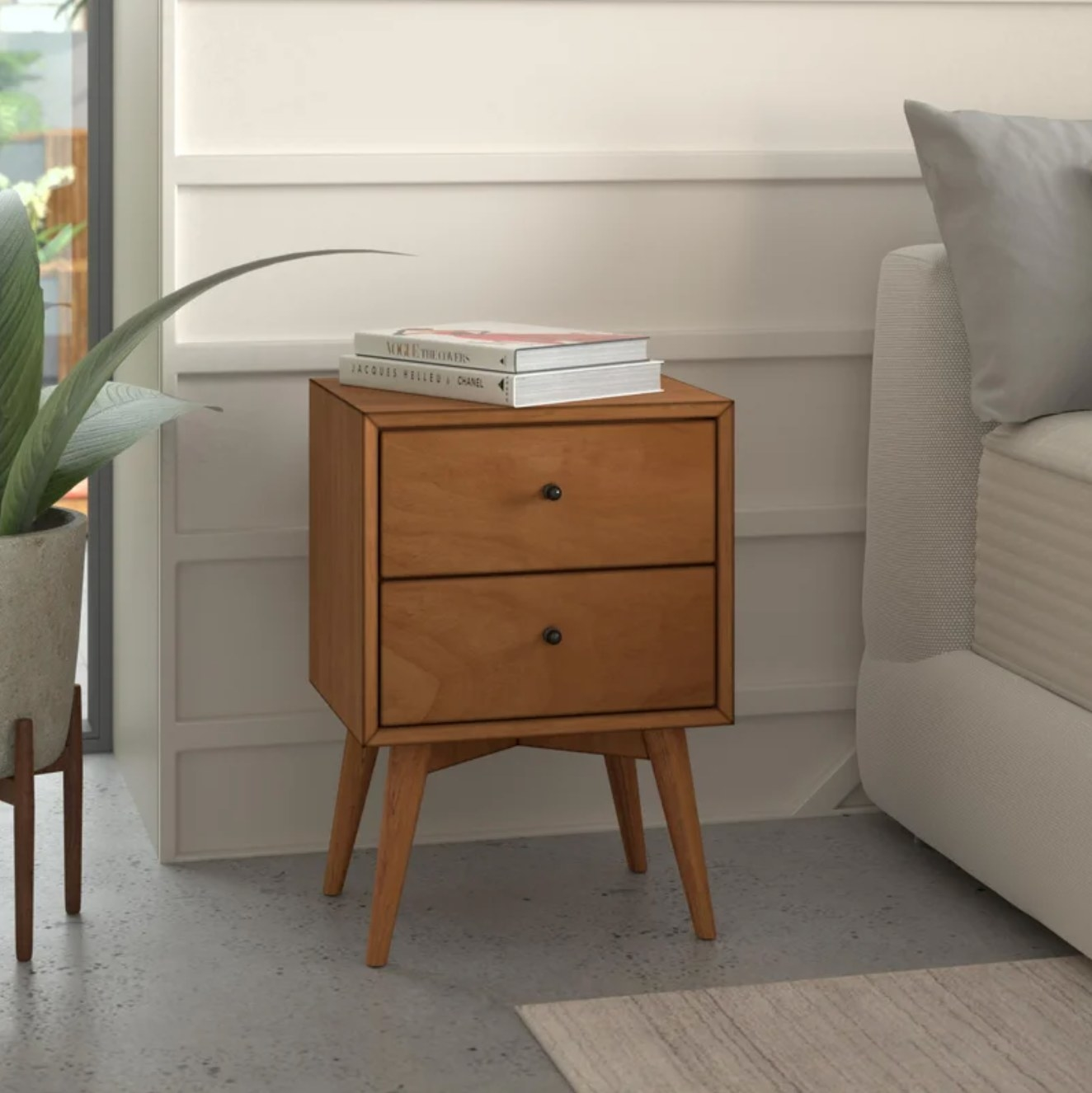 The two drawer nightstand in acorn wood