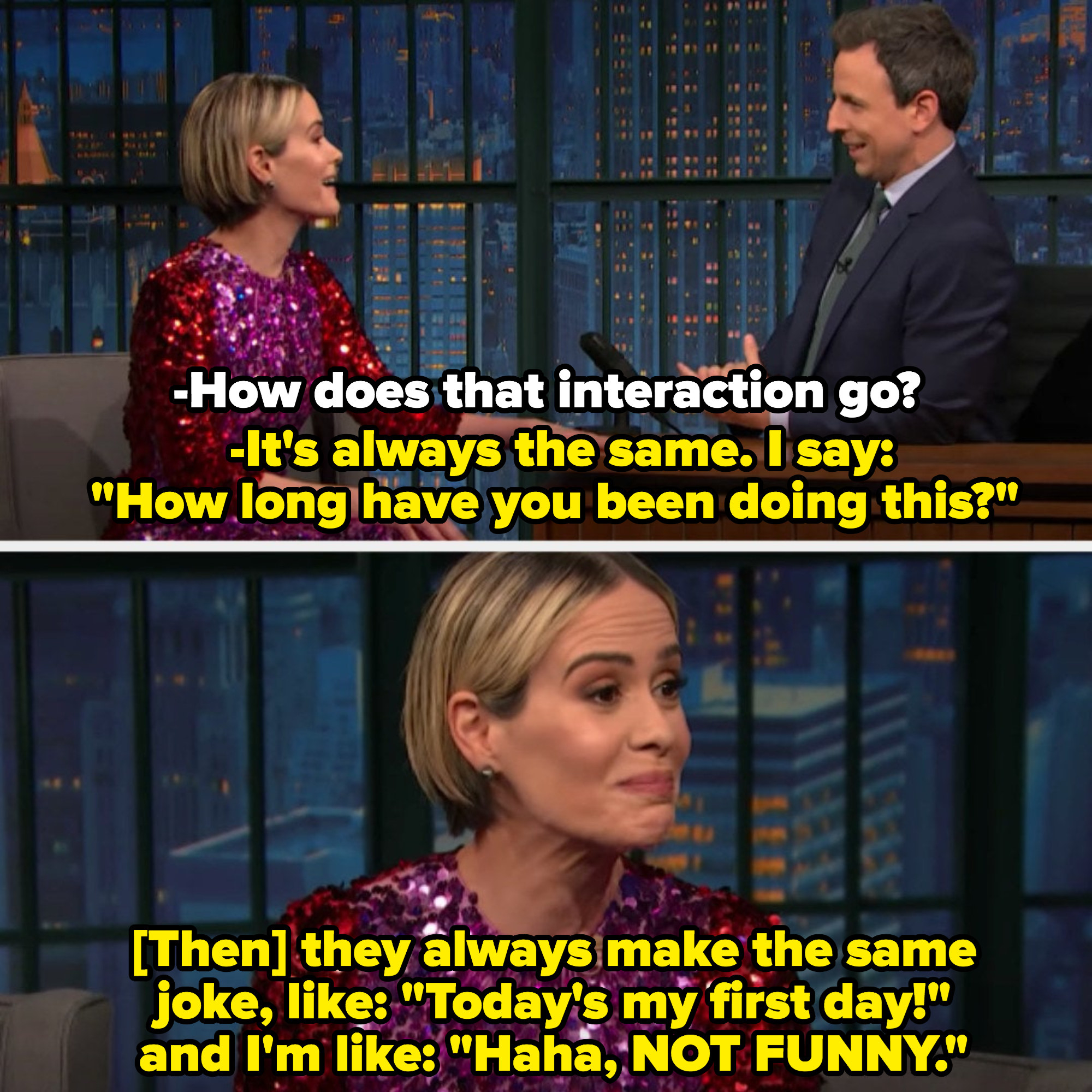 "Sarah Paulson on ""Late Night with Seth Meyers"" discussing her interactions with airplane pilots making corny jokes"