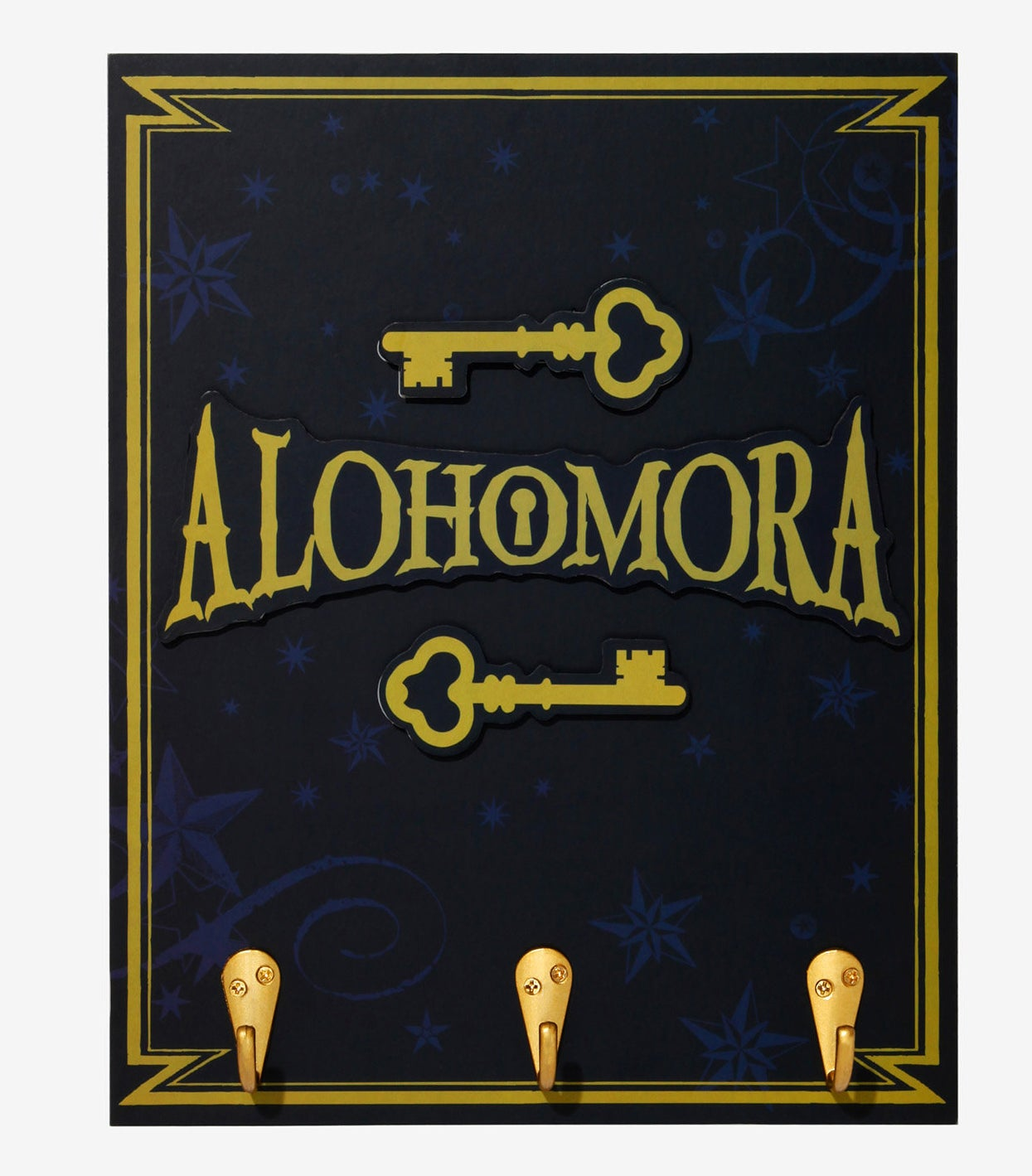 """the gold key hook with gold text labeled """"Alohomora"""""""