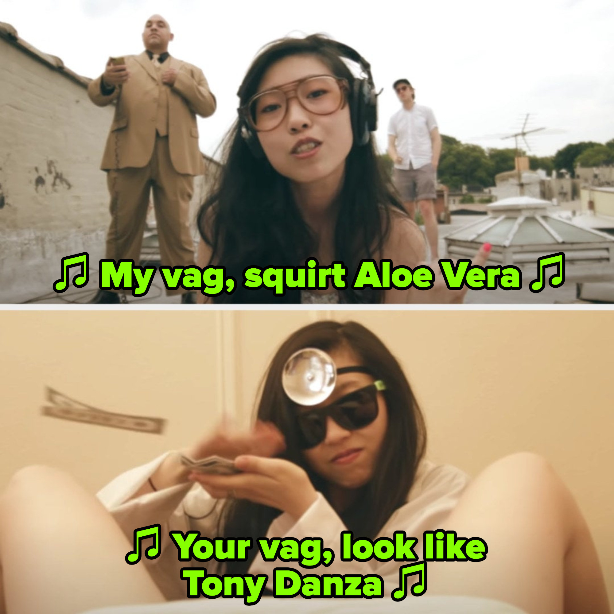 "Awkwafina in her ""My Vag"" music video"