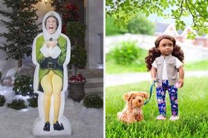 一个伙伴,小精灵充气装饰和一个洋娃娃和她的狗