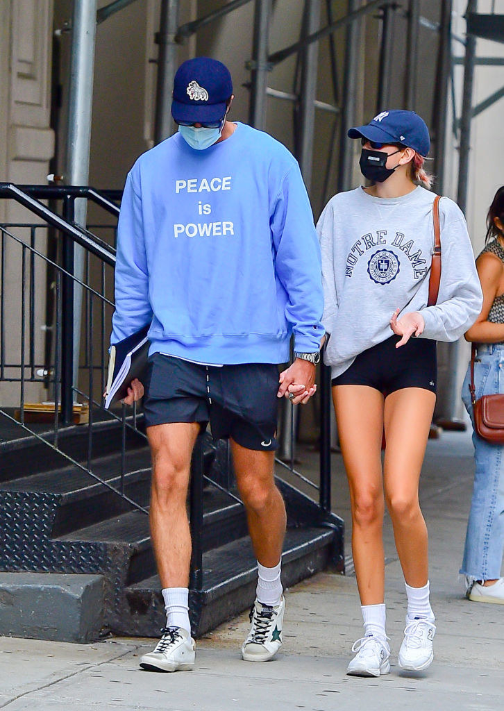 Model Kaia Gerber and Jacob Elordi are seen walking in soho on September 11, 2020