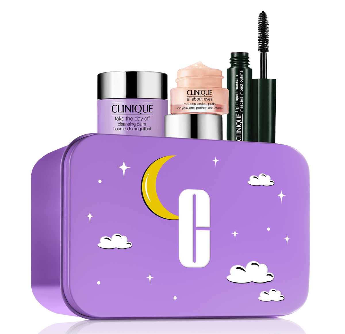 the purple tin with the mascara, eye balm, and cleansing balm