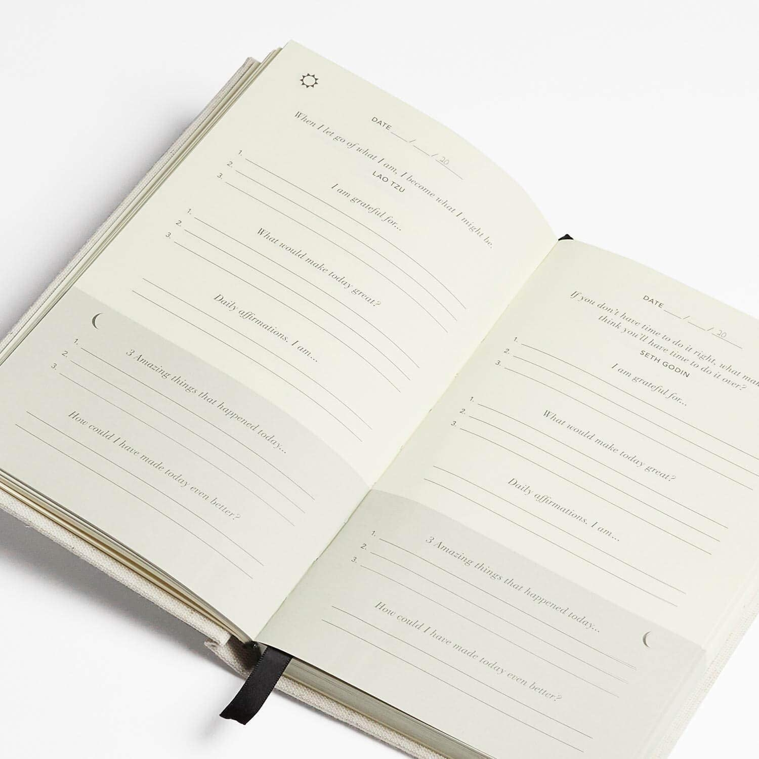 A page inside the journal with prompts written on it