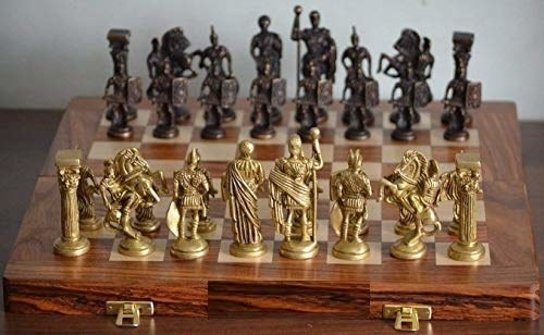A chess board with Roman figurines as the pieces instead of the regular ones.